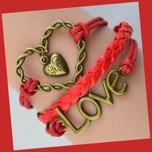 Huge Love Heart Red Infinity Leather Charm Bracele